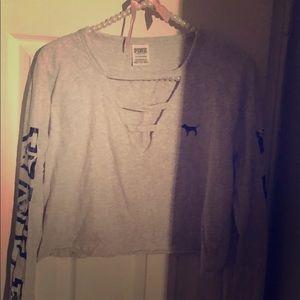 Pink By Vs crop long sleeve shirt